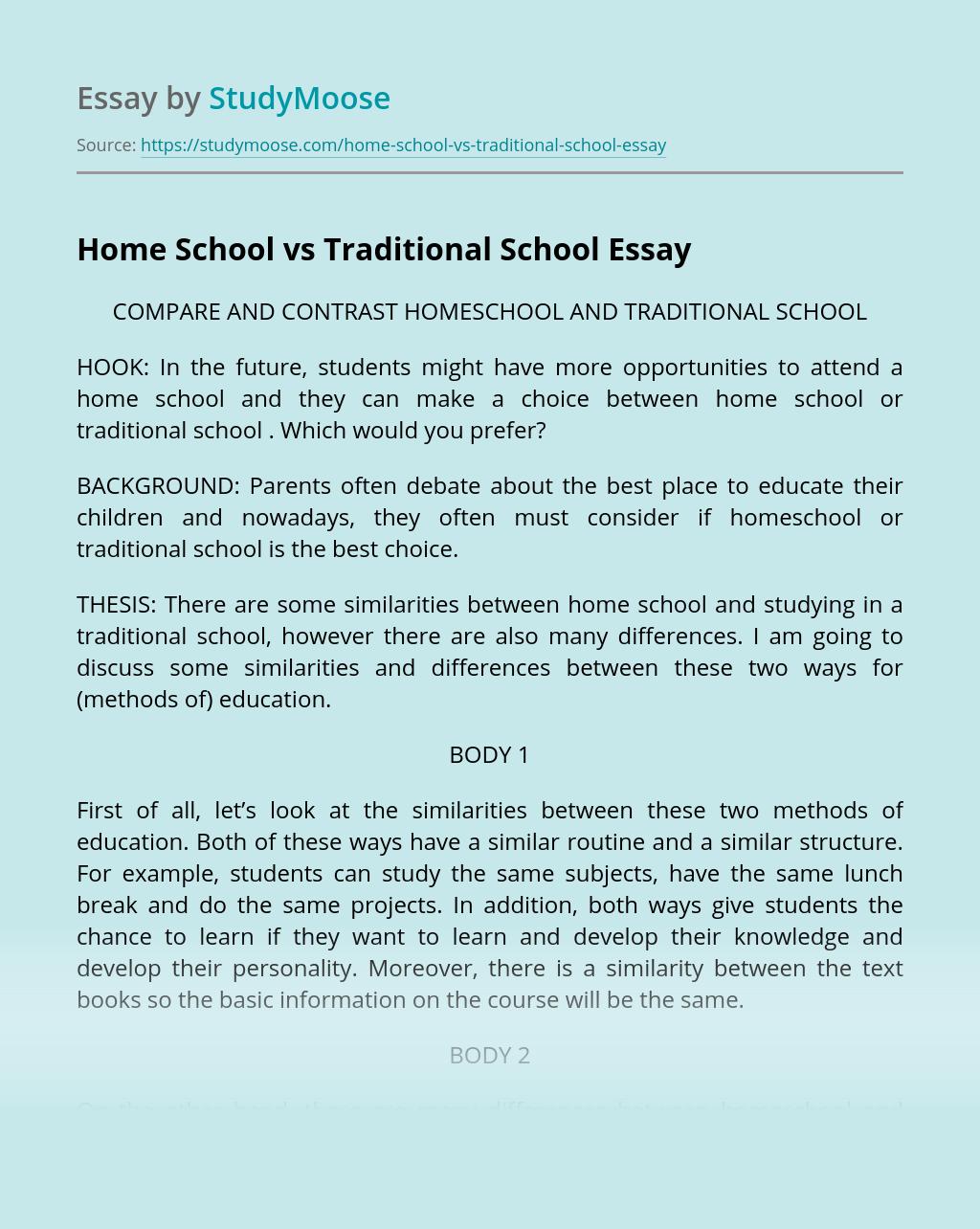 Home School vs Traditional School