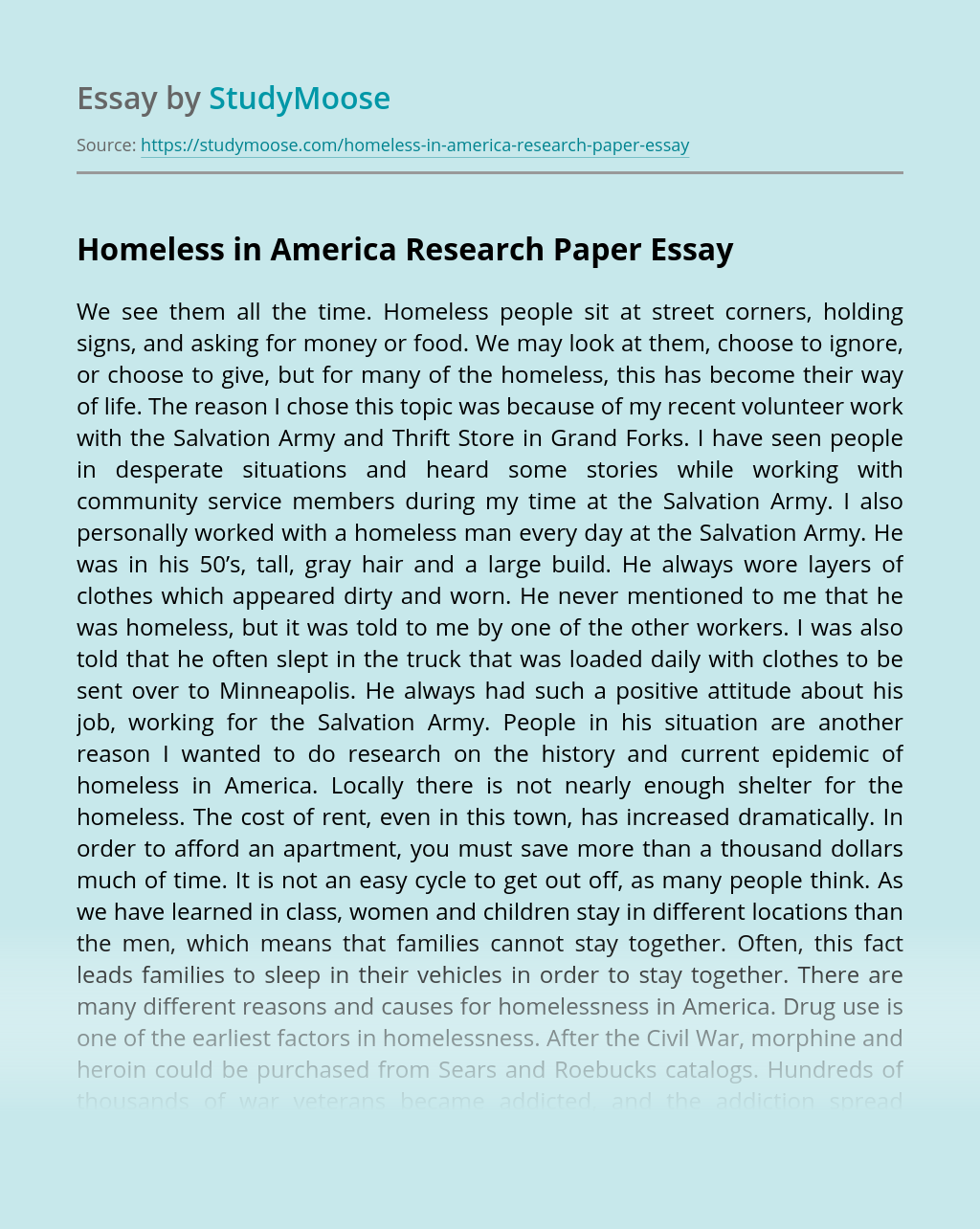 Homeless in America Research Paper