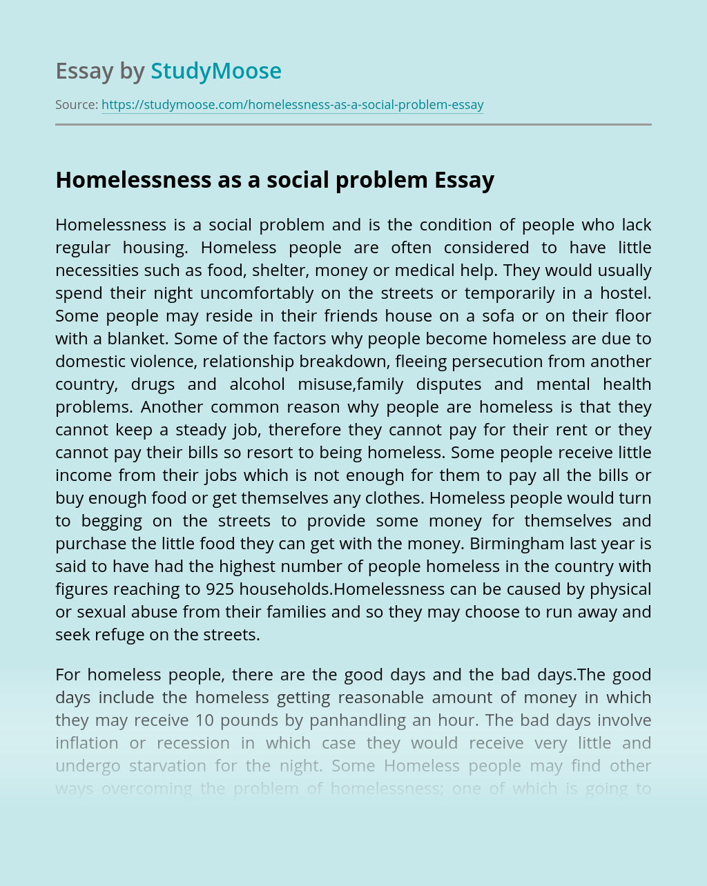 Homelessness as a social problem