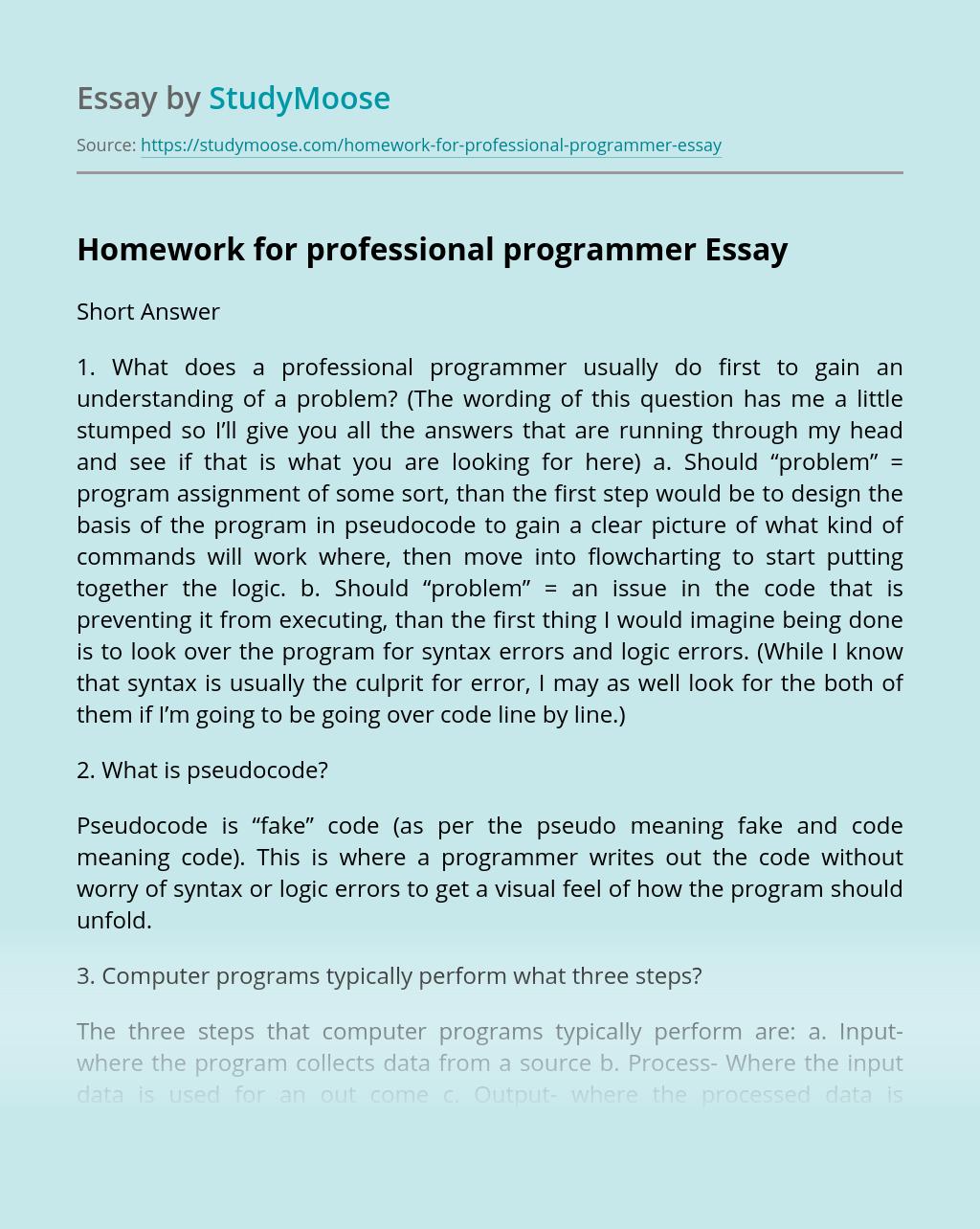 Homework for professional programmer