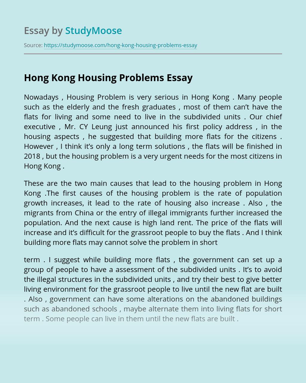 Hong Kong Housing Problems