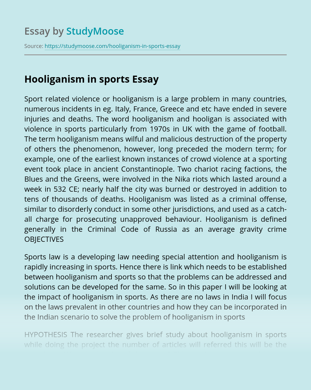 Hooliganism in sports
