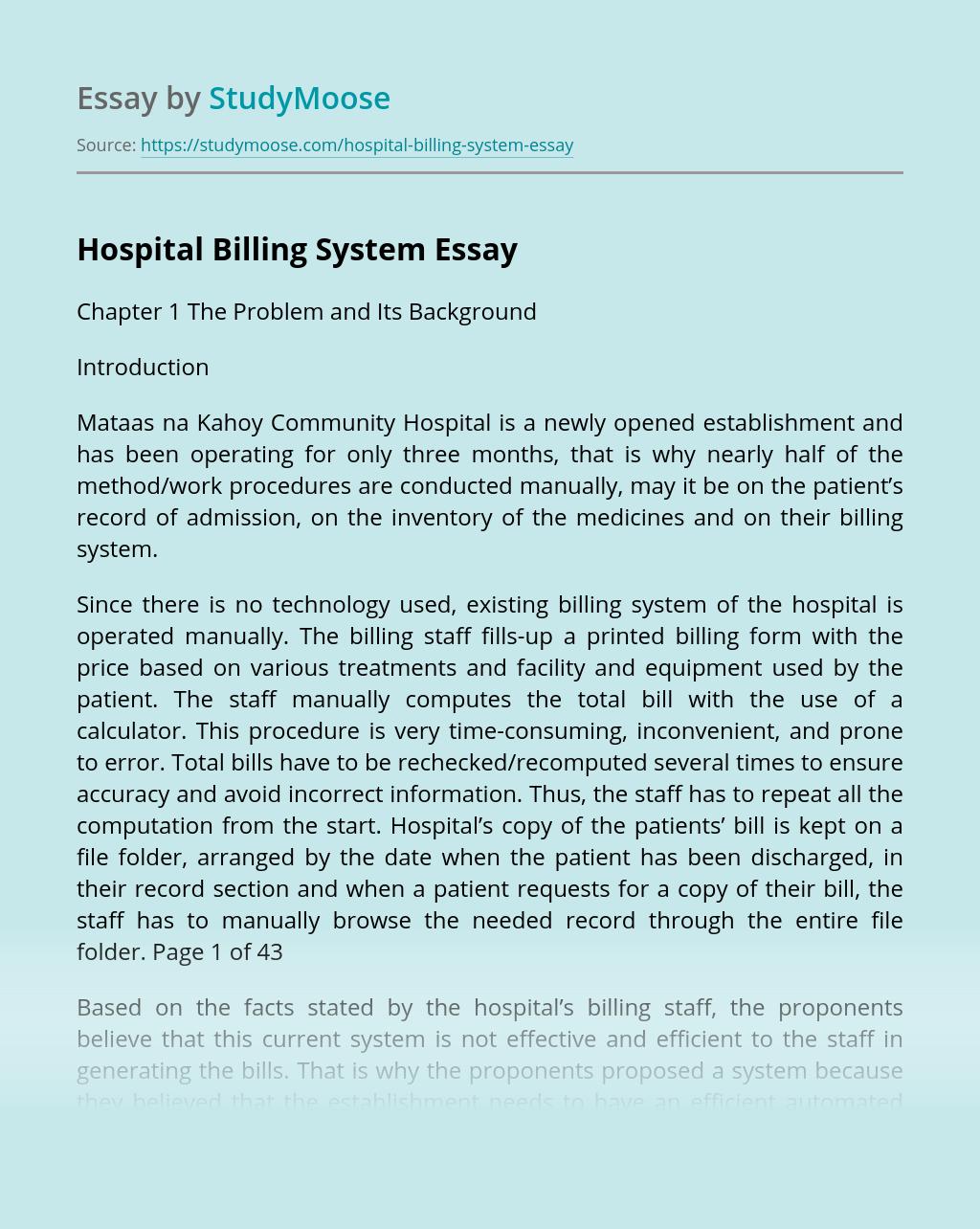 Hospital Billing System