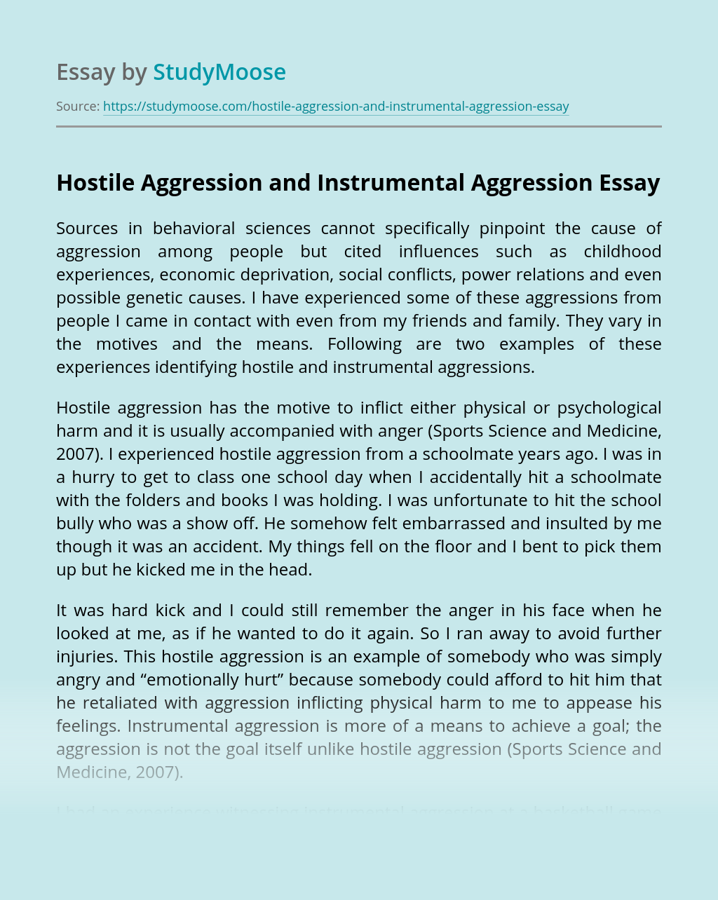 Hostile Aggression and Instrumental Aggression