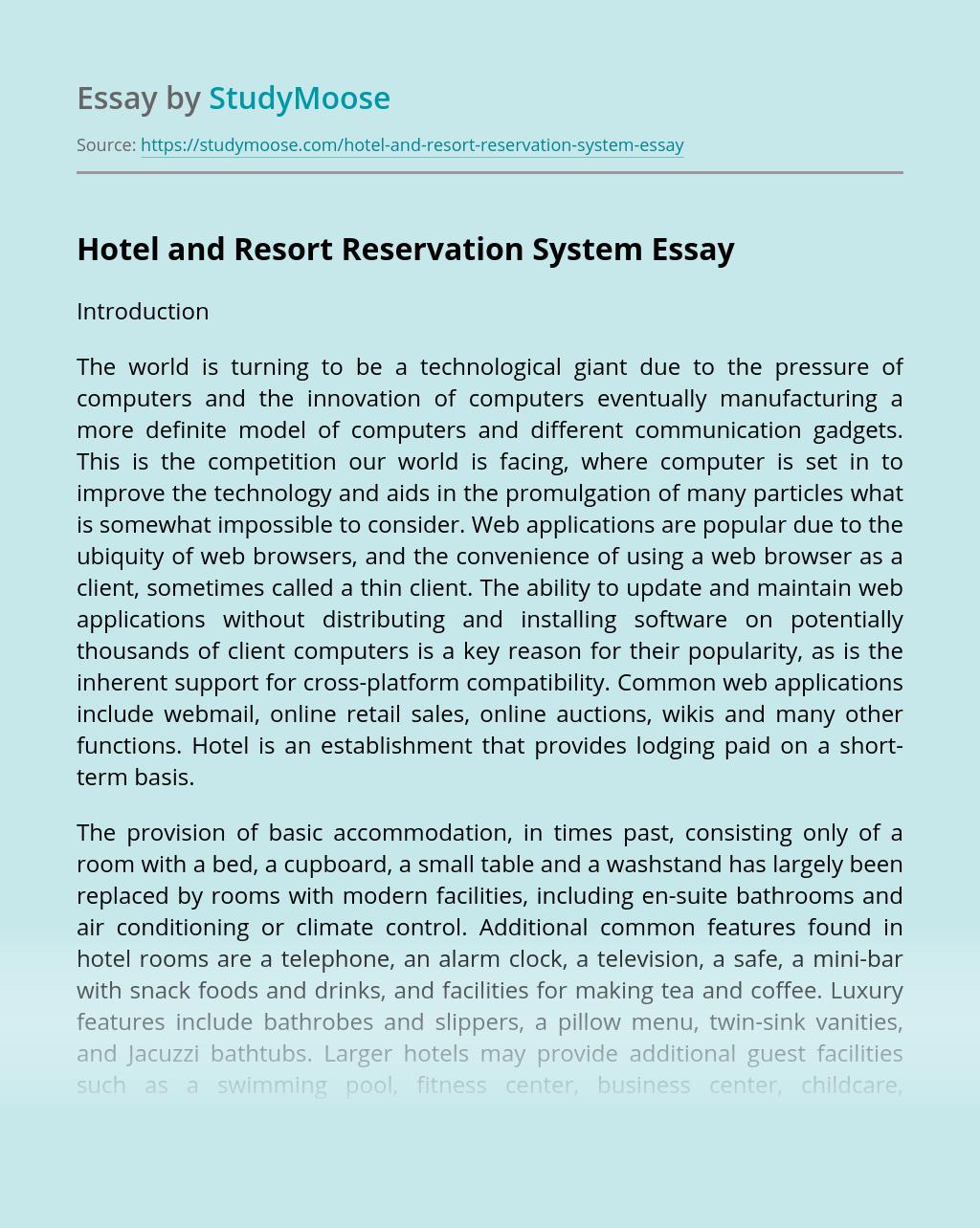 Hotel and Resort Reservation System