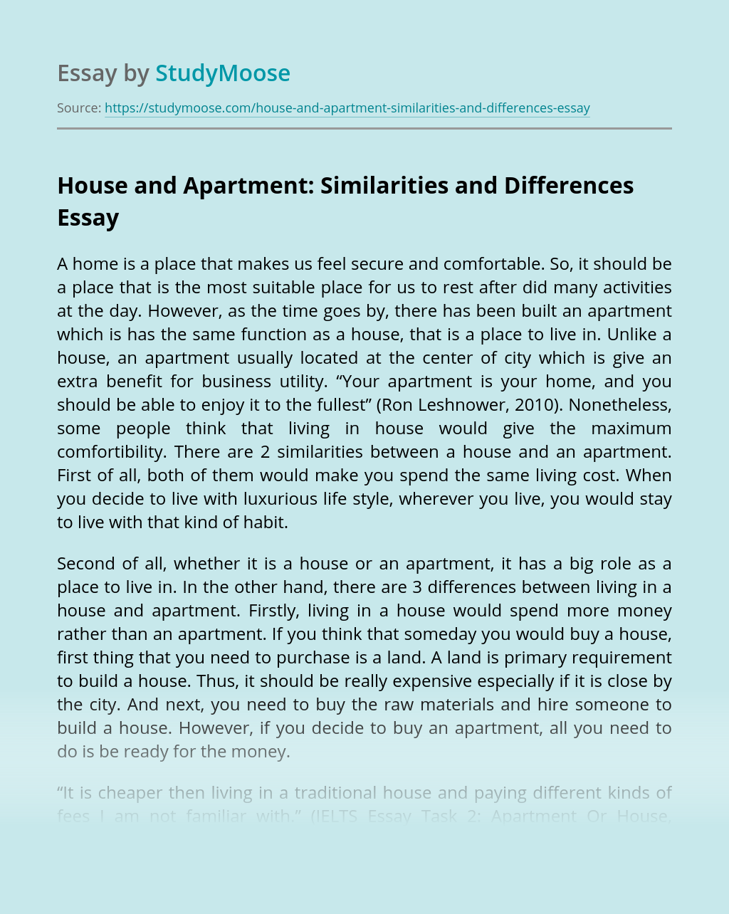 House and Apartment: Similarities and Differences