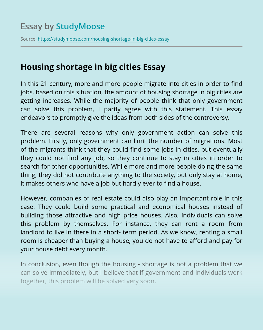 Housing shortage in big cities