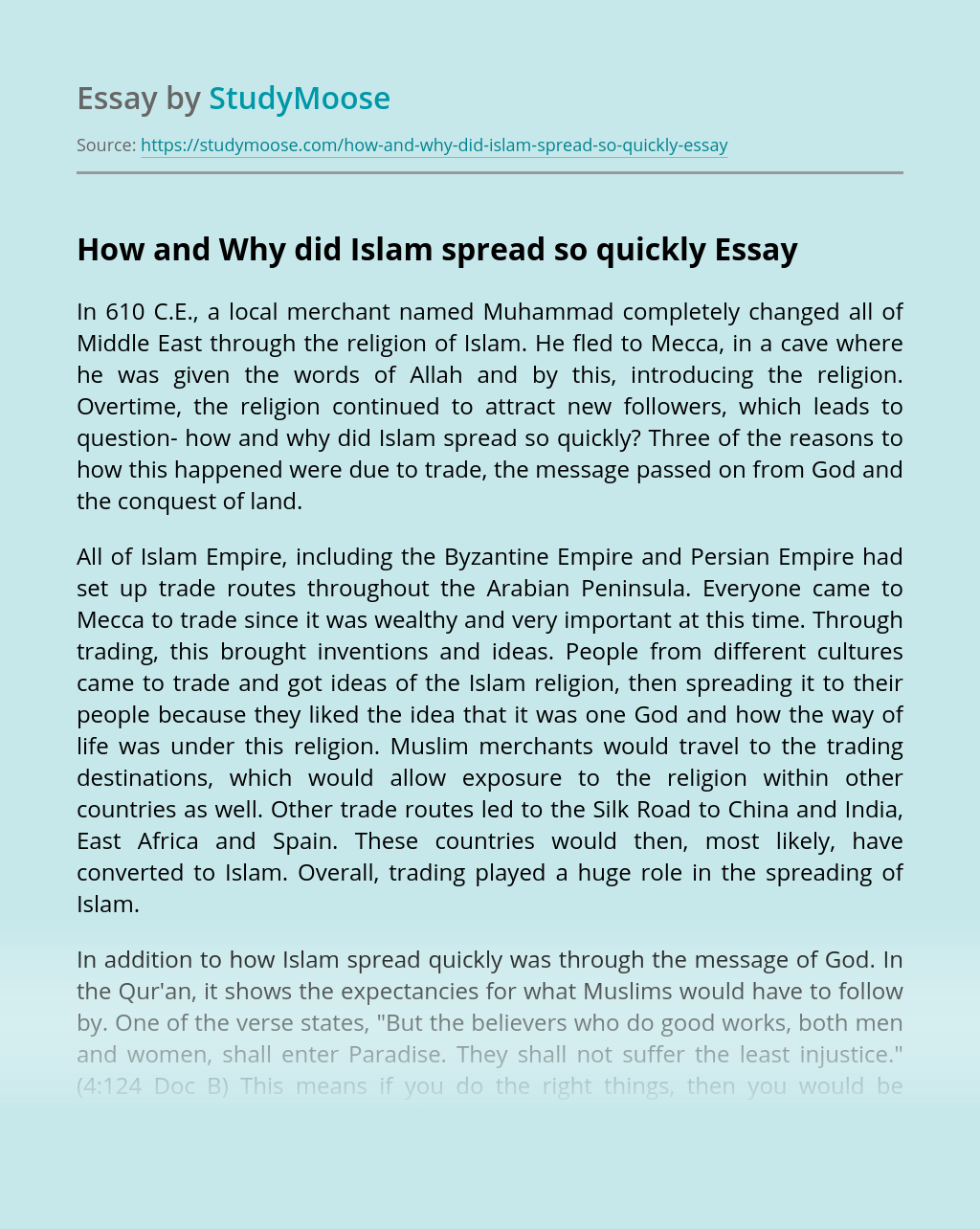 How and Why did Islam spread so quickly