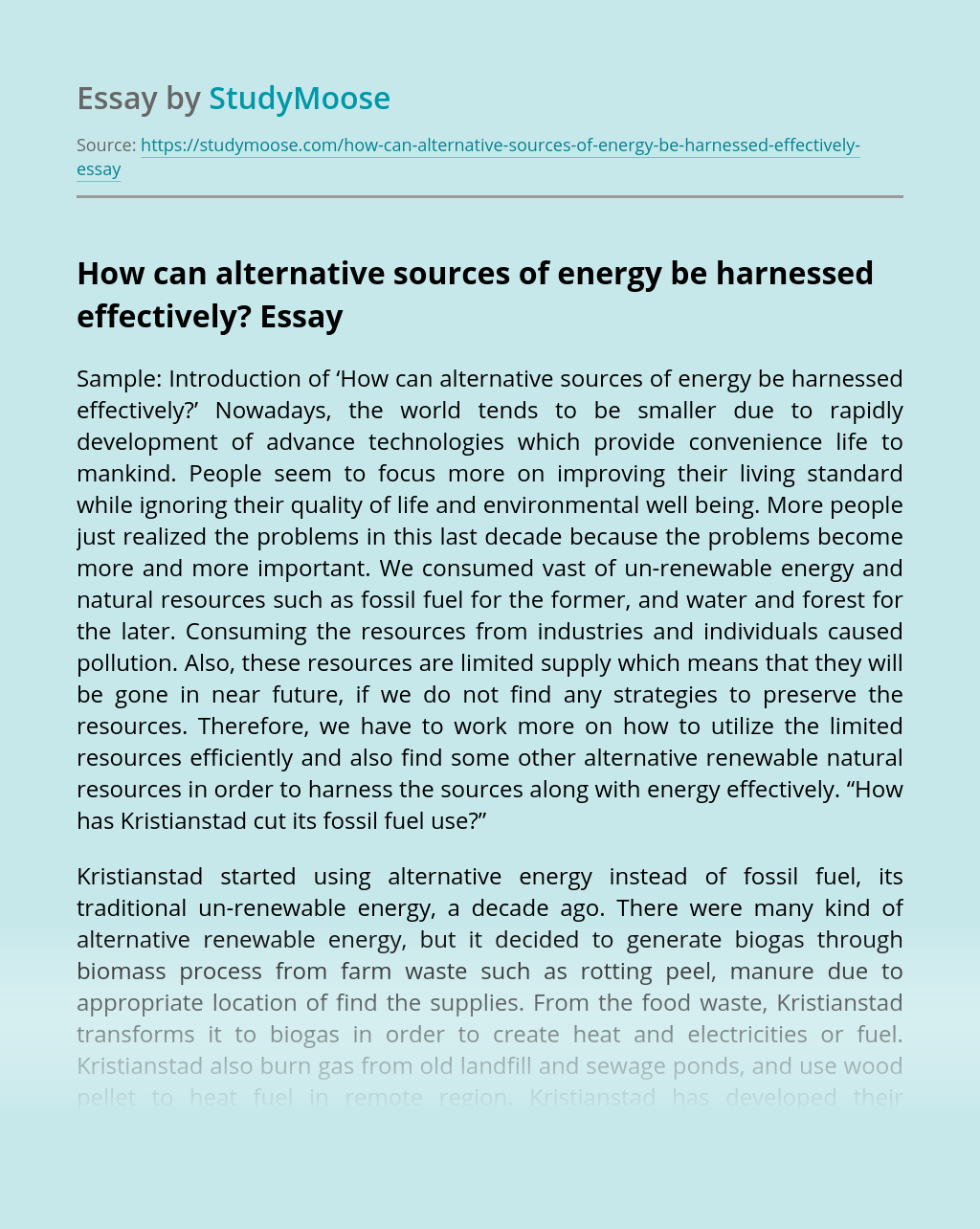 How Can Alternative Sources of Energy be Harnessed Effectively?