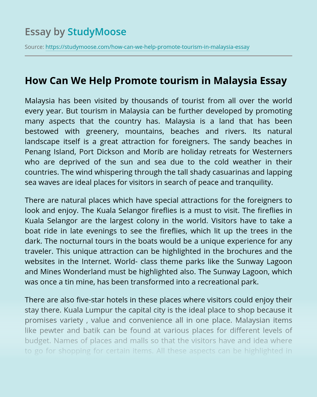 How Can We Help Promote tourism in Malaysia