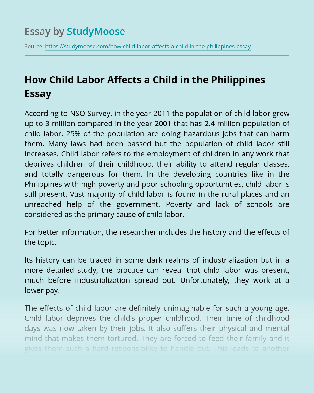How Child Labor Affects a Child in the Philippines?