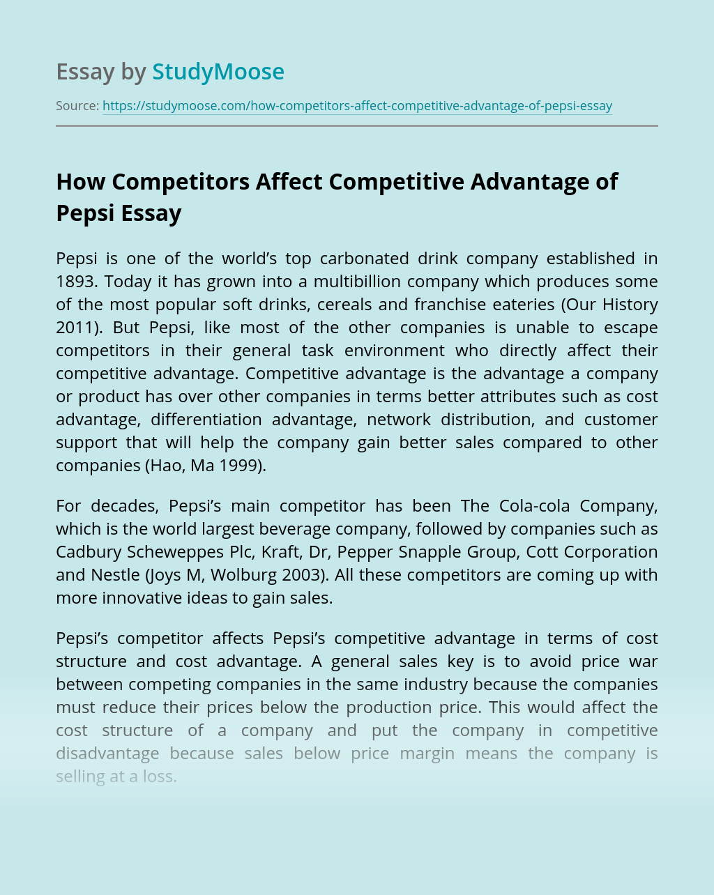 How Competitors Affect Competitive Advantage of Pepsi