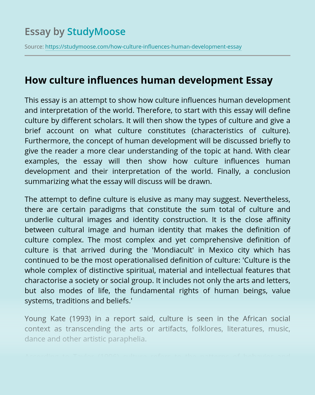How culture influences human development