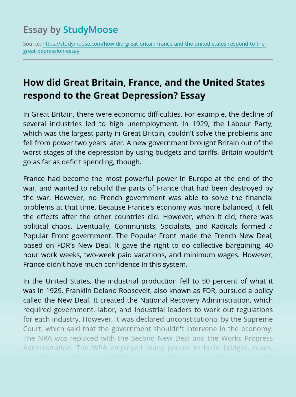 How did Great Britain, France, and the United States respond to the Great Depression?