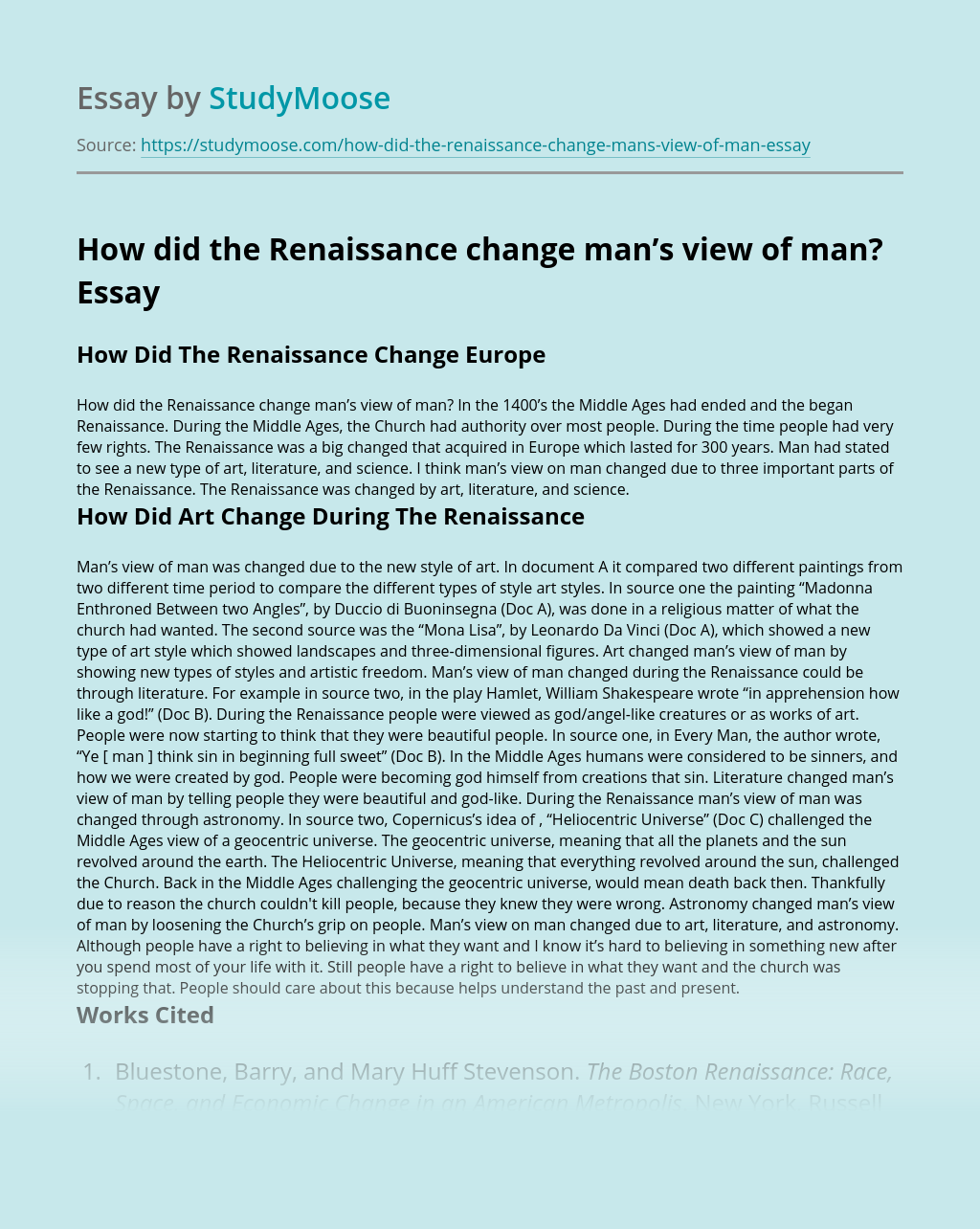 How did the Renaissance change man's view of man?