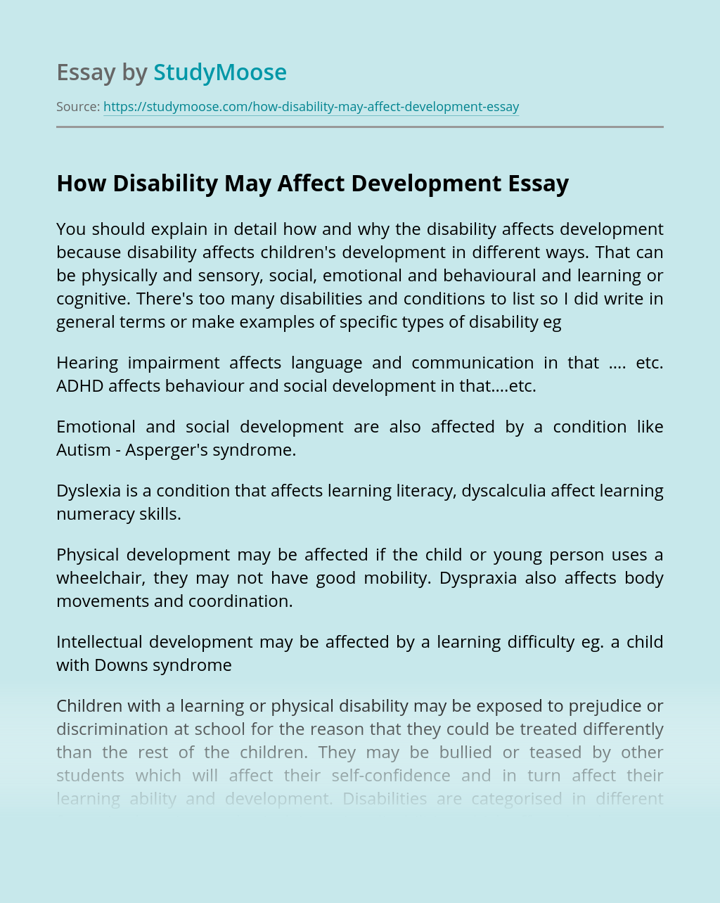 How Disability May Affect Development