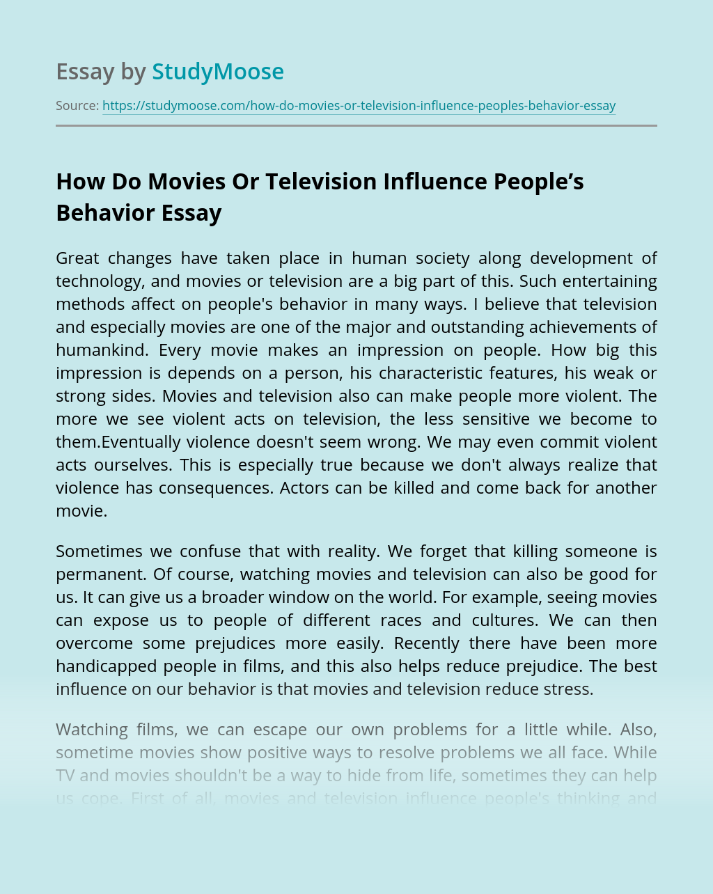 How Do Movies Or Television Influence People's Behavior