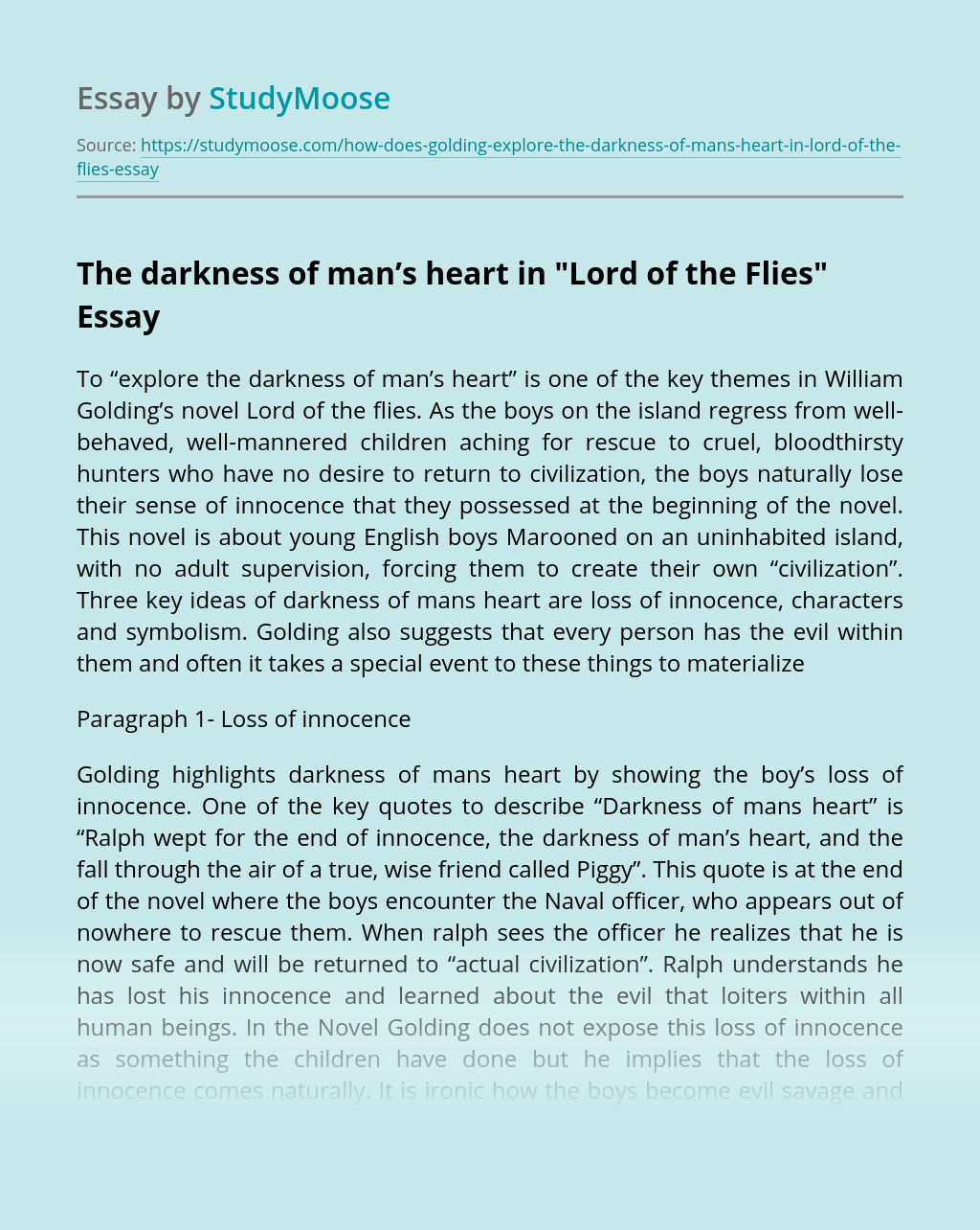 "The darkness of man's heart in ""Lord of the Flies"""