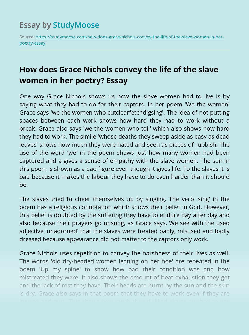 How does Grace Nichols convey the life of the slave women in her poetry?