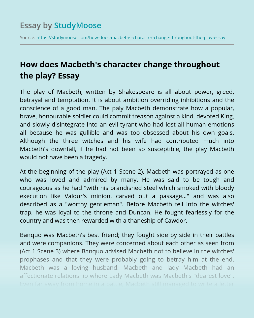 How does Macbeth's character change throughout the play?