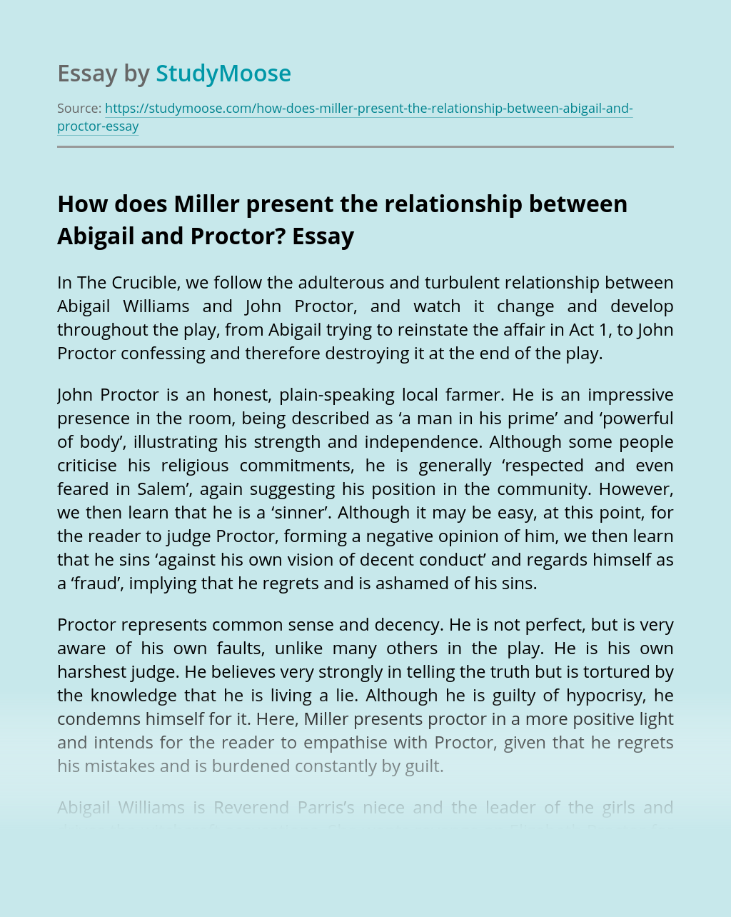 How does Miller present the relationship between Abigail and Proctor?