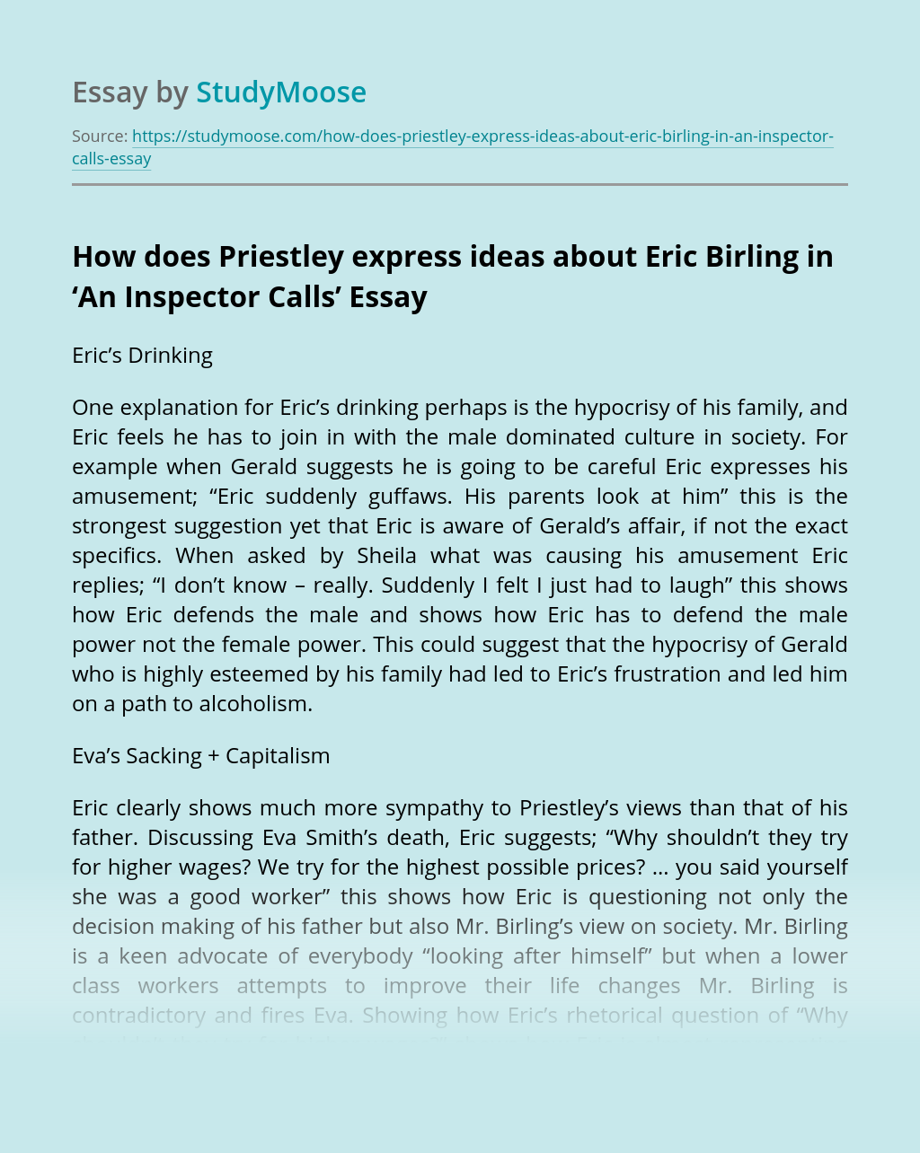 "How Does Priestley Express Ideas About Eric Birling in ""An Inspector Calls"""