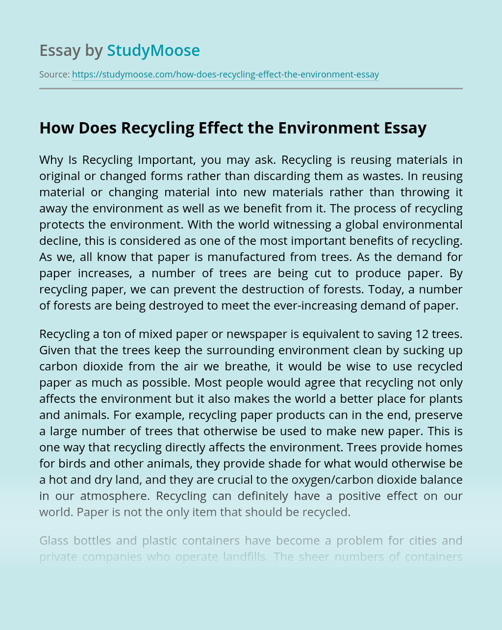 How Does Recycling Effect the Environment