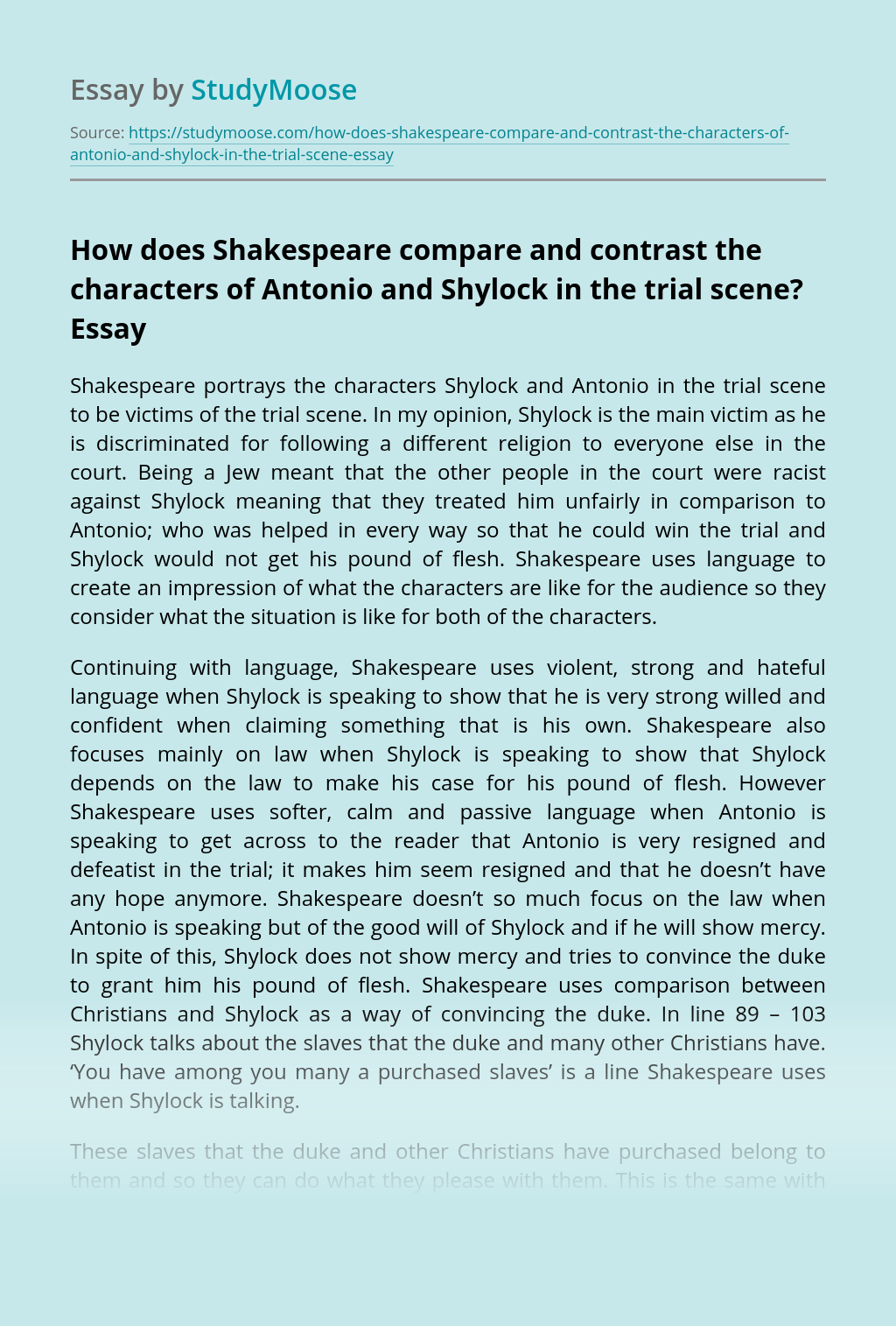 How does Shakespeare compare and contrast the characters of Antonio and Shylock in the trial scene?