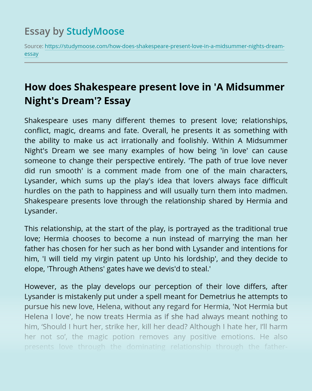 How does Shakespeare present love in 'A Midsummer Night's Dream'?