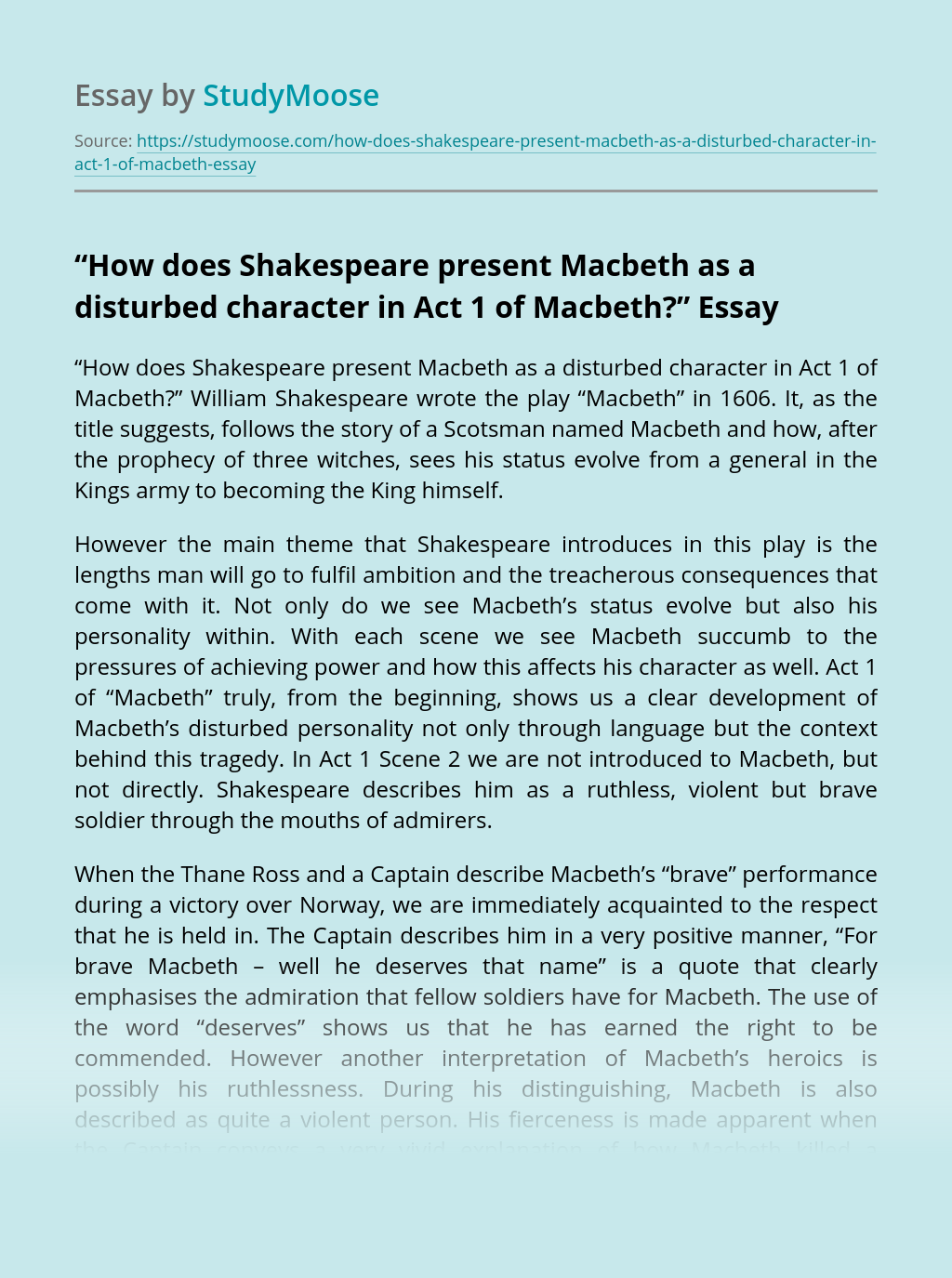 """""""How does Shakespeare present Macbeth as a disturbed character in Act 1 of Macbeth?"""""""