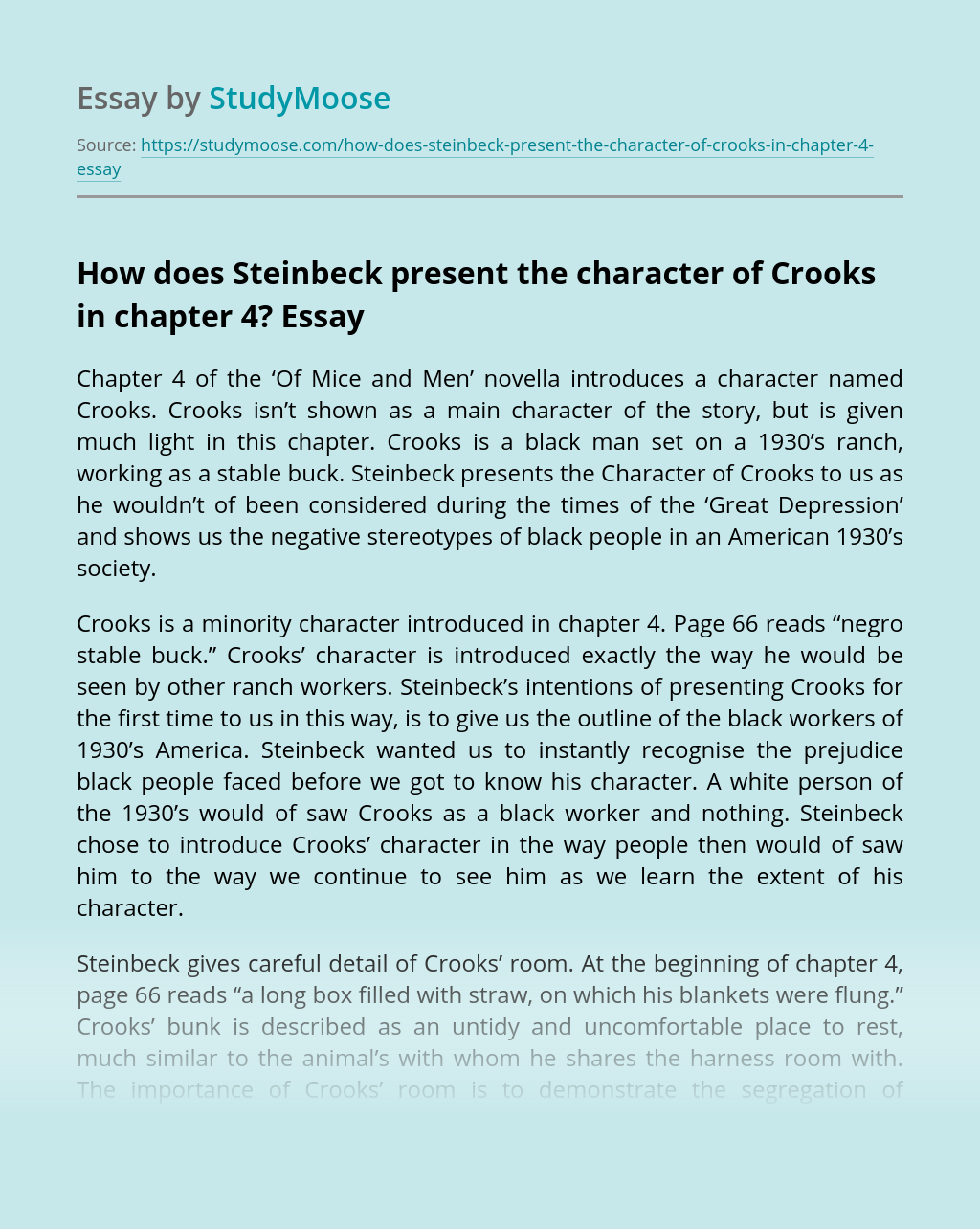 How does Steinbeck present the character of Crooks in chapter 4?