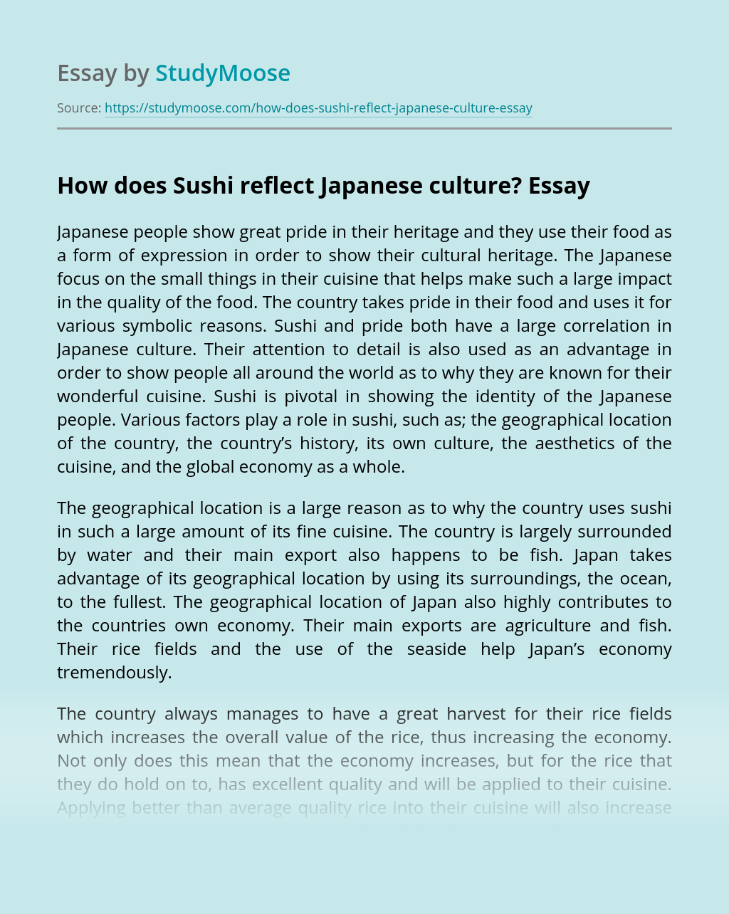 How does Sushi reflect Japanese culture?