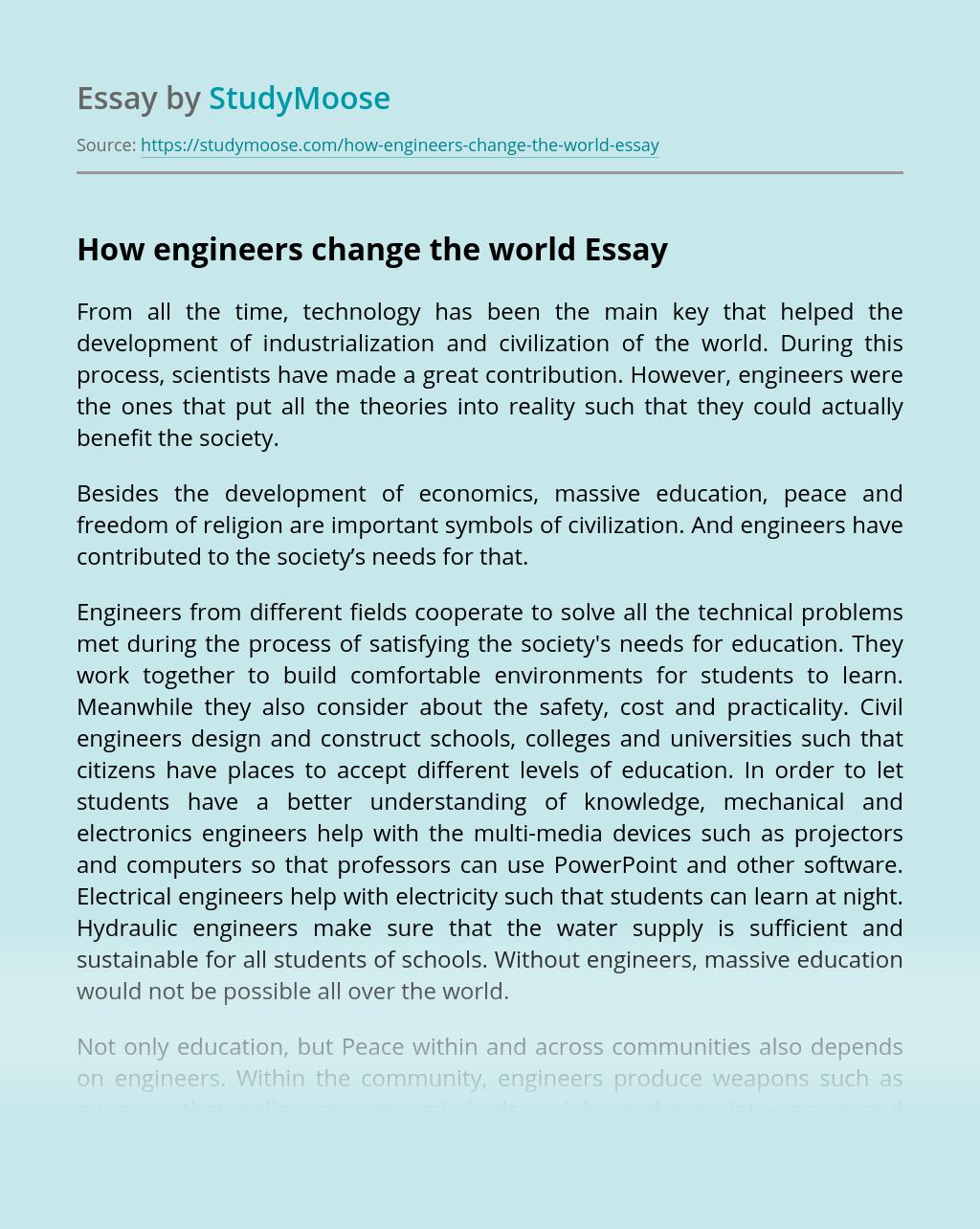 How engineers change the world?