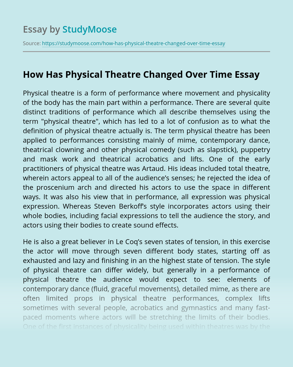 How Has Physical Theatre Changed Over Time