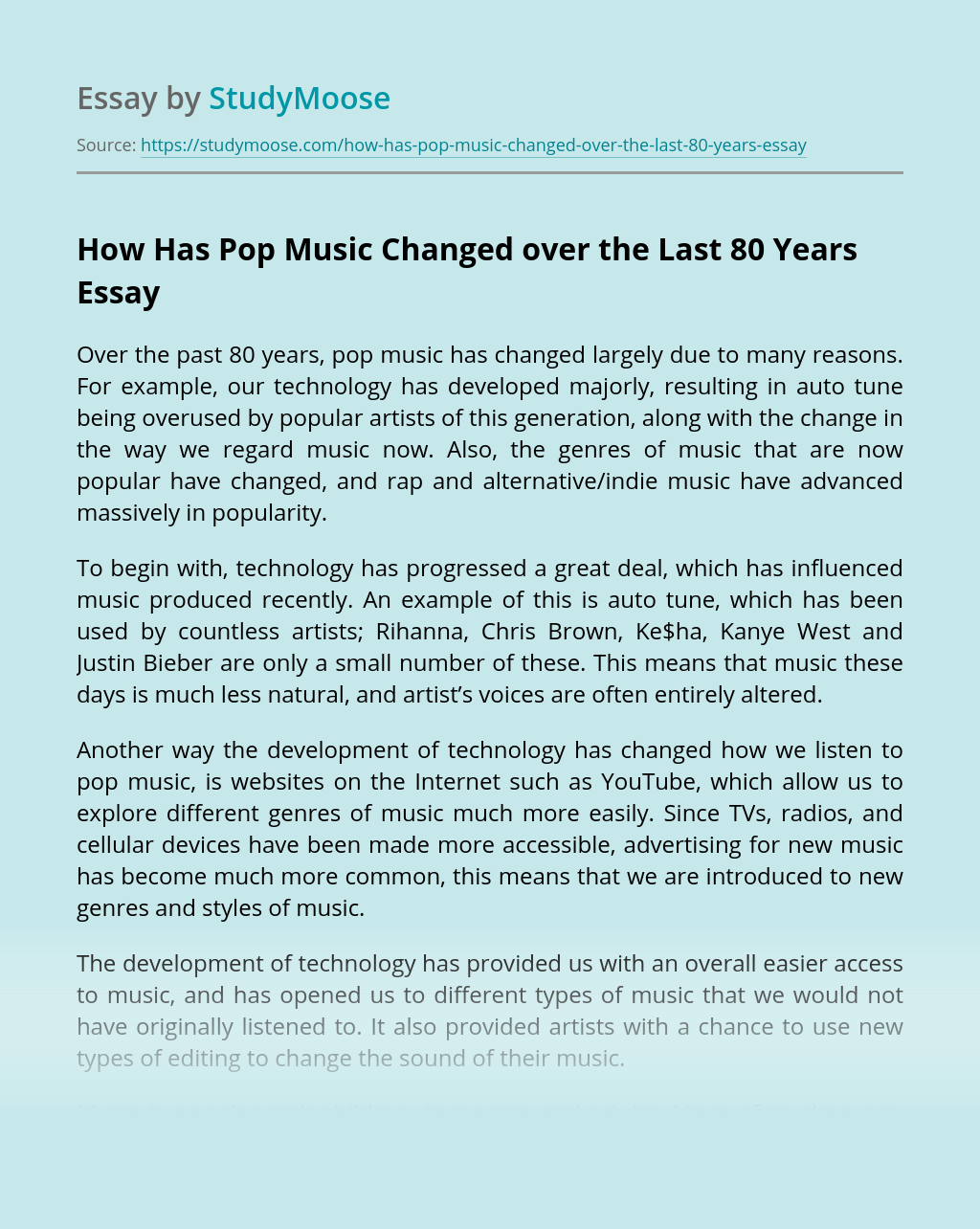 How Has Pop Music Changed over the Last 80 Years