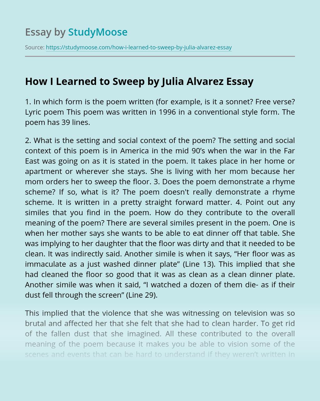 How I Learned to Sweep by Julia Alvarez