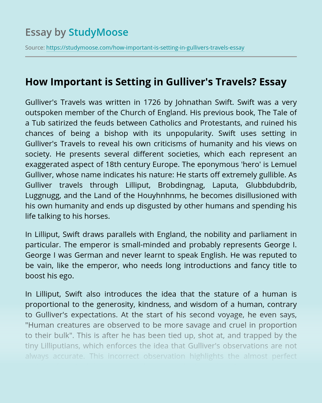 How Important is Setting in Gulliver's Travels?