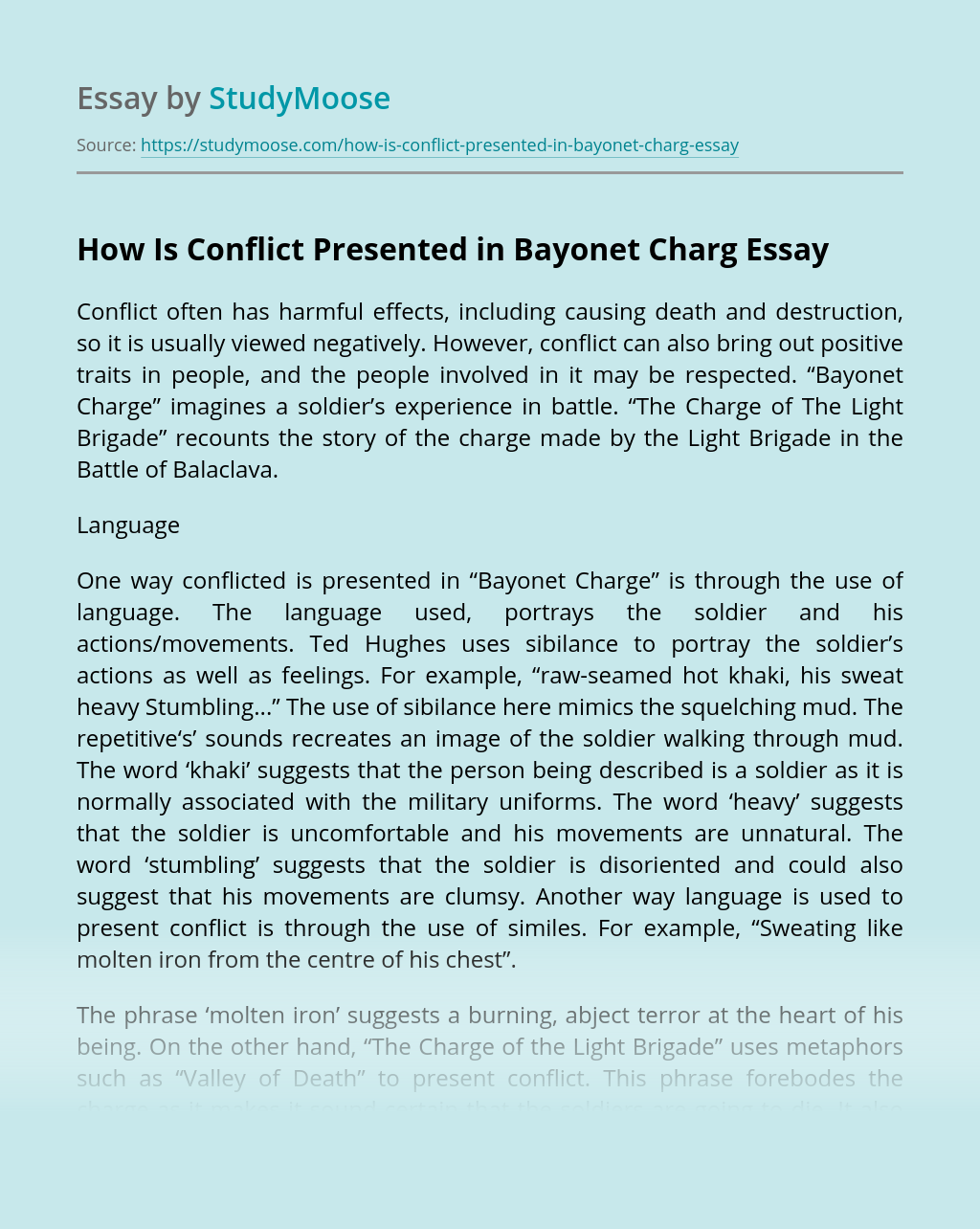 How Is Conflict Presented in Bayonet Charg