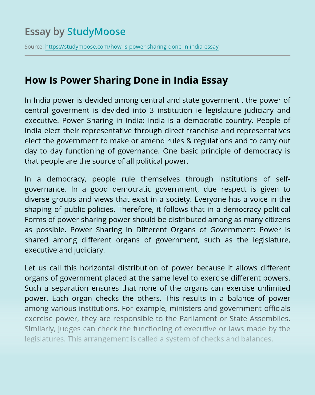 How Is Power Sharing Done in India