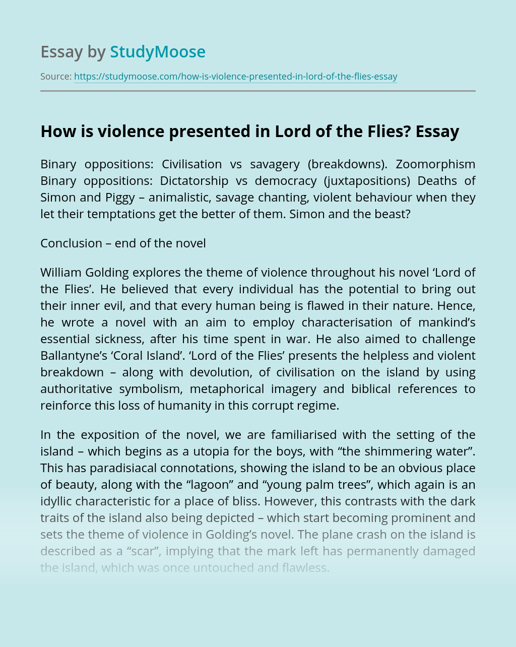 ?How is violence presented in Lord of the Flies?