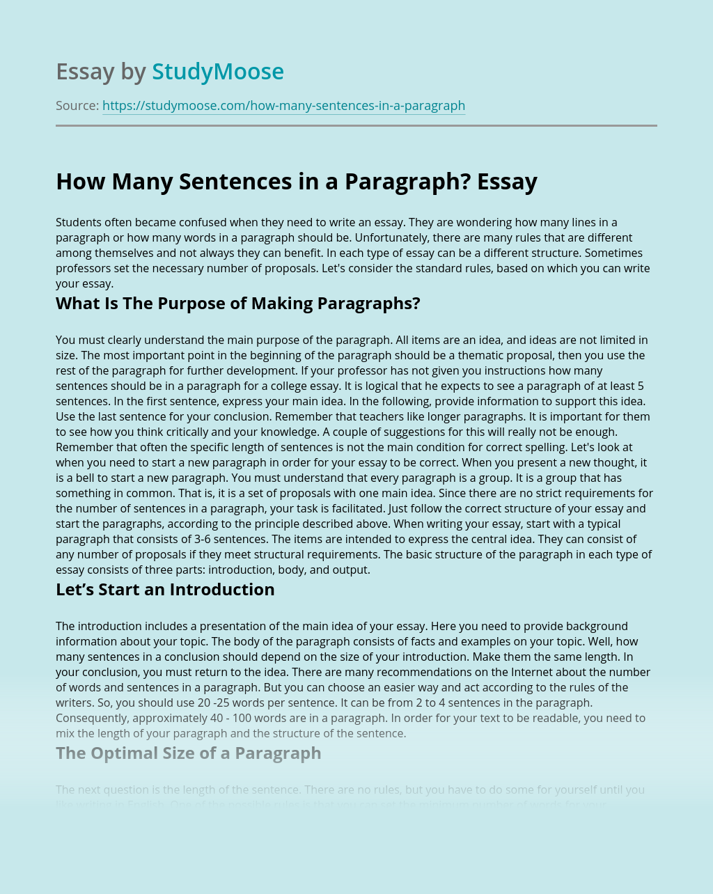 How Many Sentences in a Paragraph?