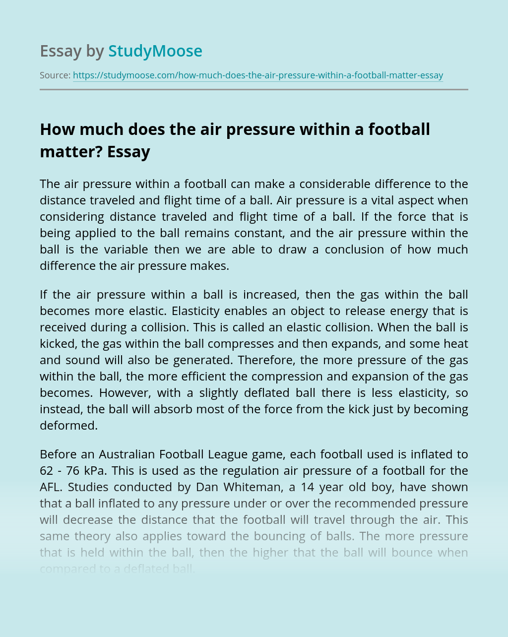 How much does the air pressure within a football matter?