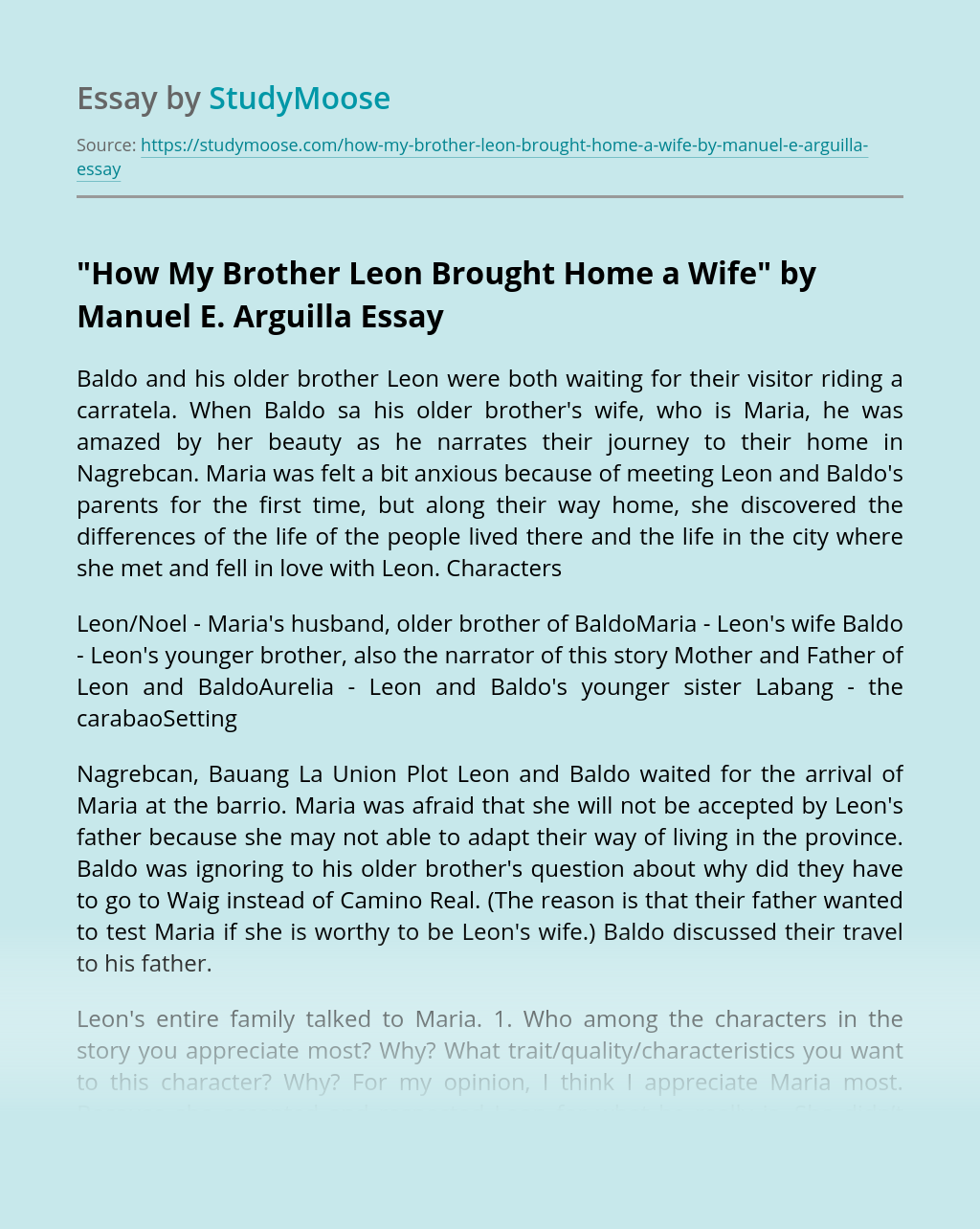 """How My Brother Leon Brought Home a Wife"" by Manuel E. Arguilla"