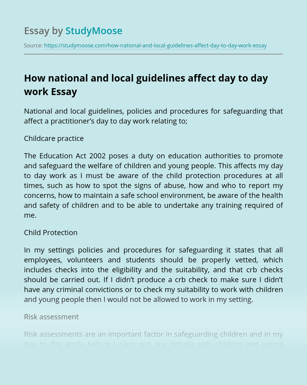 How national and local guidelines affect day to day work