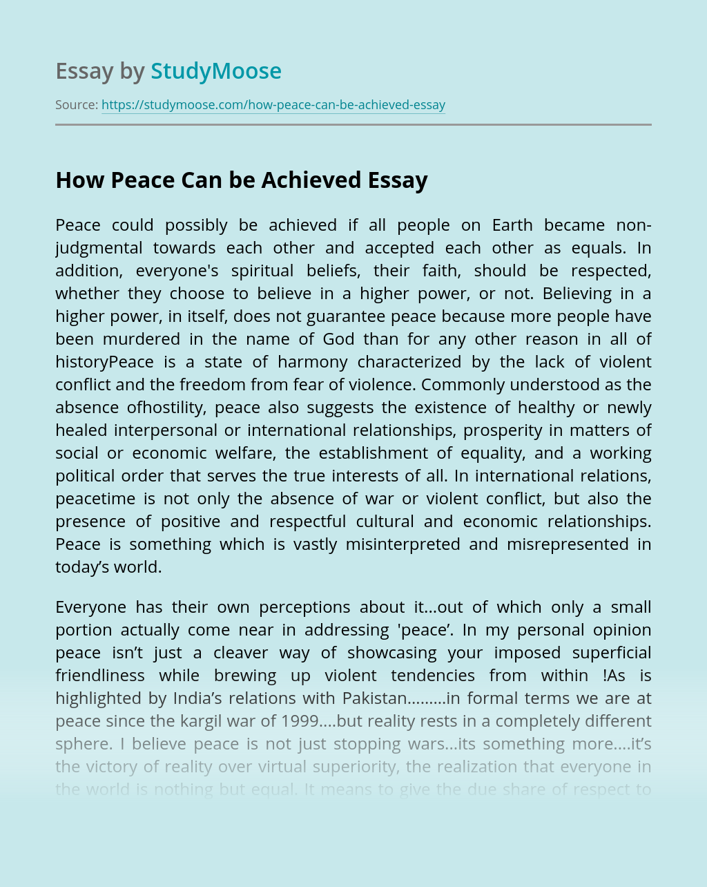How Peace Can be Achieved