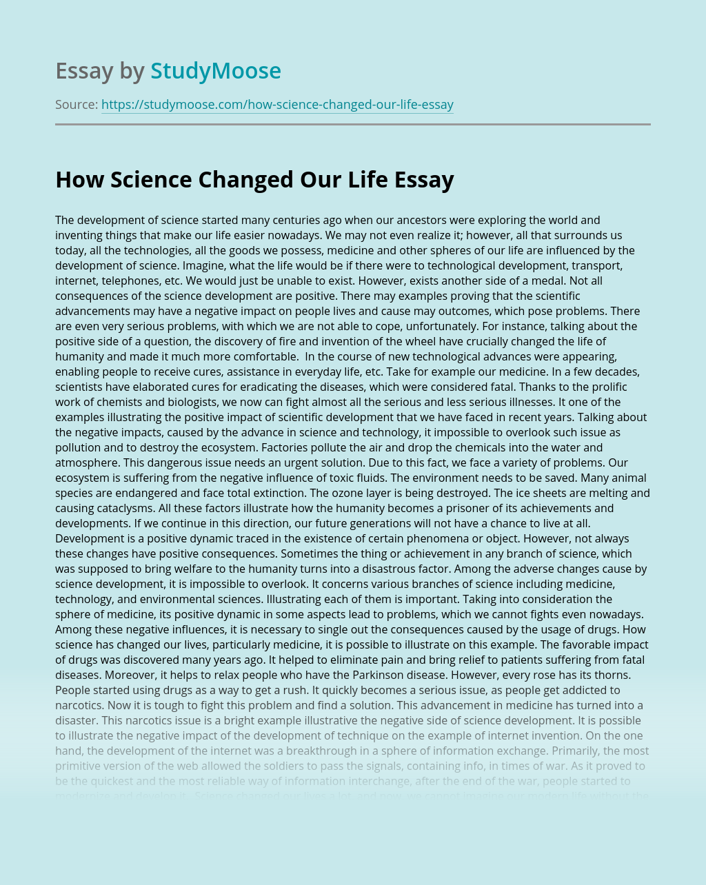 How Science Changed Our Life