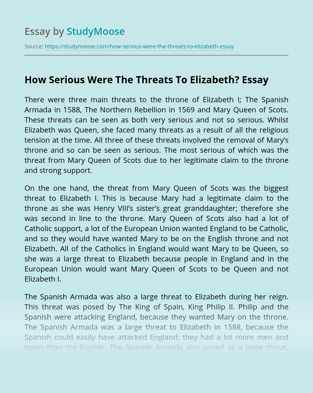 How Serious Were The Threats To Elizabeth?