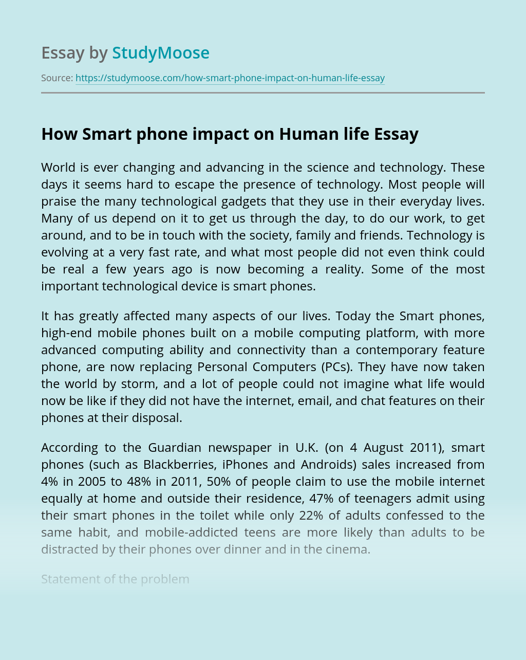 How Smart phone impact on Human life