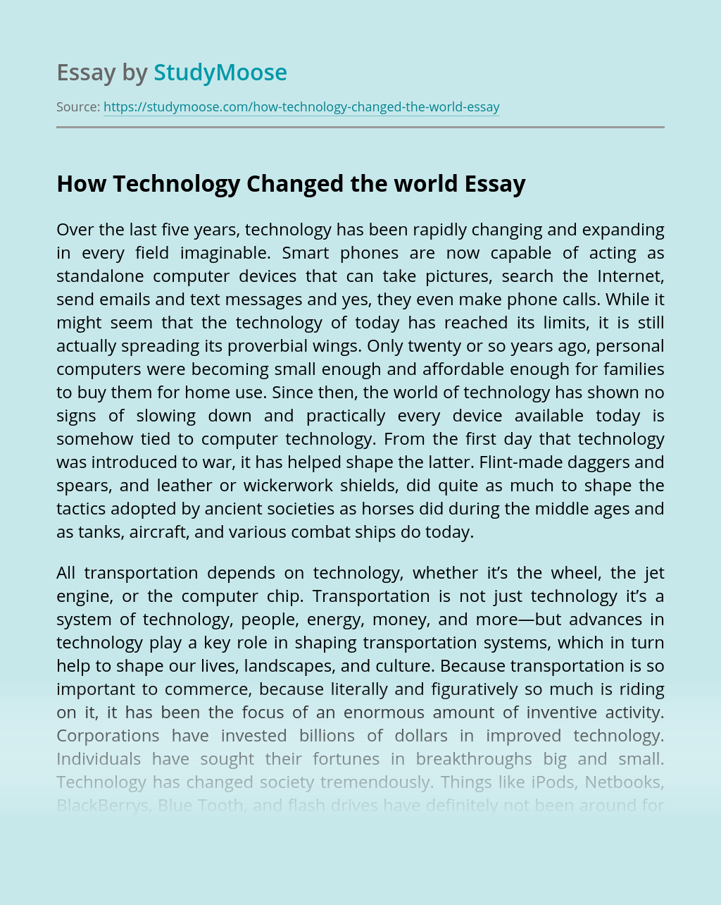 How Technology Changed the world