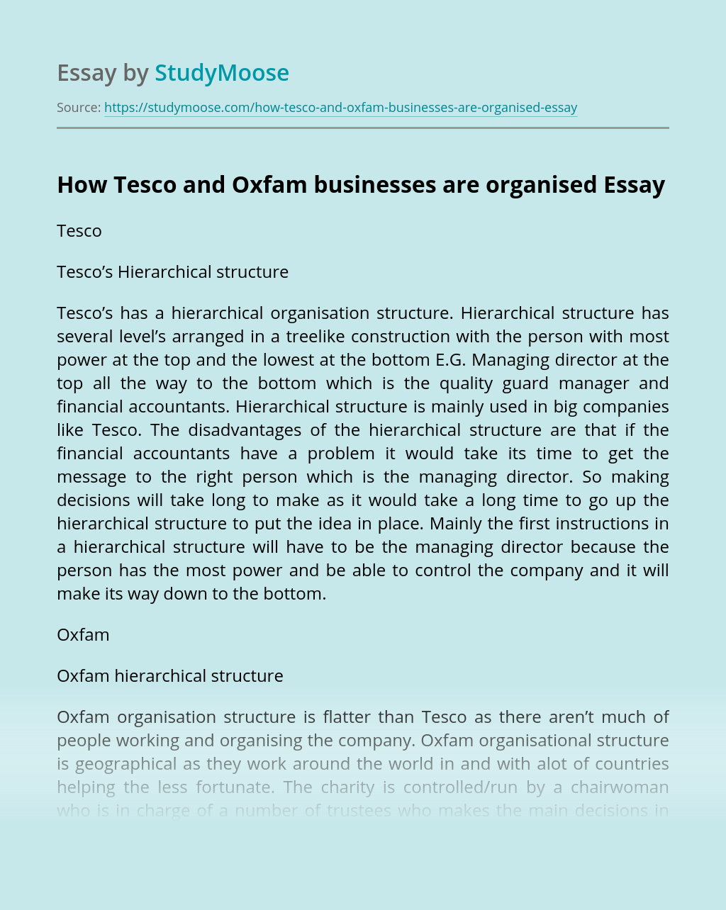How Tesco and Oxfam businesses are organised